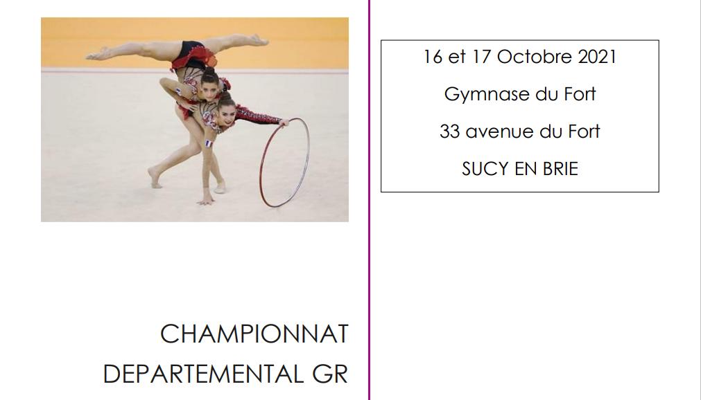 Organigramme Championnat Départemental Individuels GR des 16 et 17 octobre 2021 à Sucy en Brie